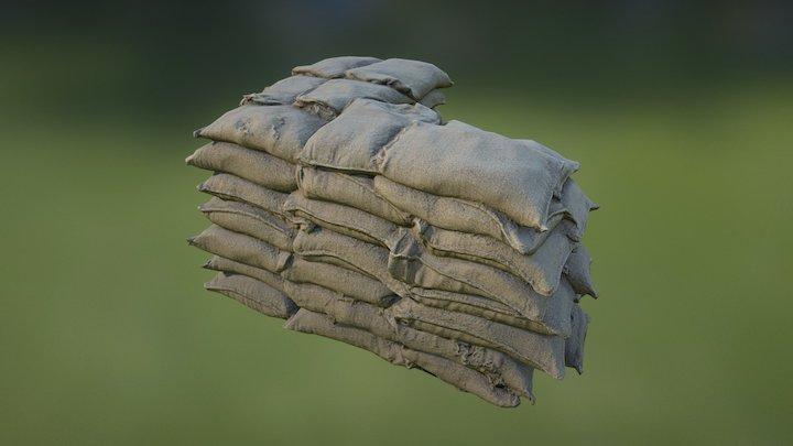 Sandbag Wall Corner90 01 3D Model
