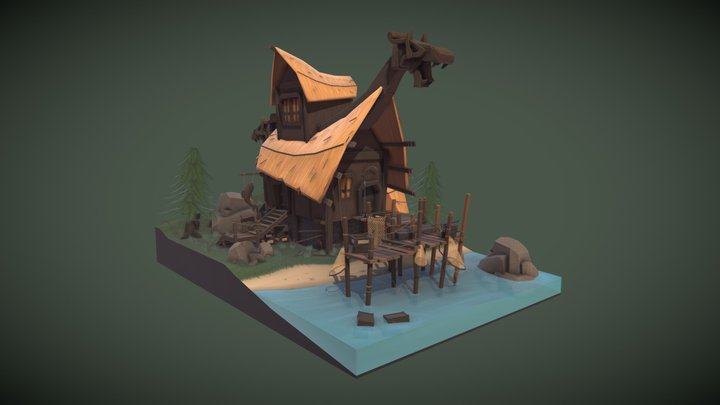 Fishing cabin of a lone viking 3D Model