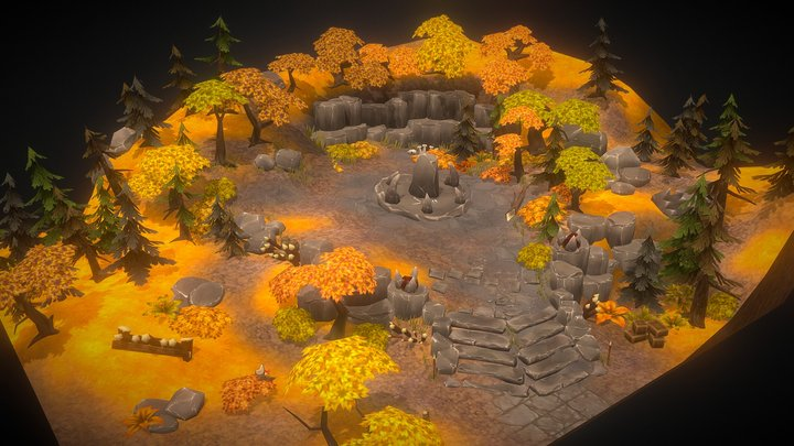 ORCSLAND. Environment art pack for mobiles. 3D Model