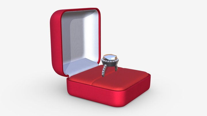 wedding ring in a square box 3D Model