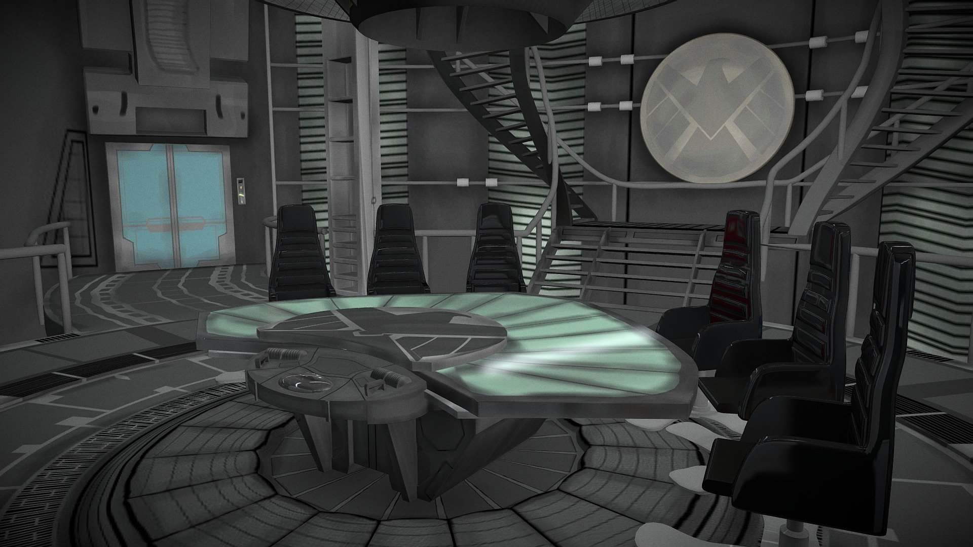 SHIELD Helicarrier Meeting Room - Download Free 3D model ...