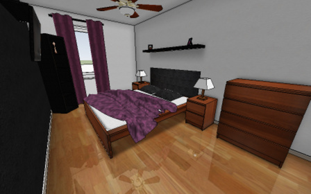 Bedroom with shiny floor 3D Model