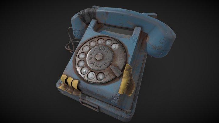 Old Phone Blue 2 3D Model