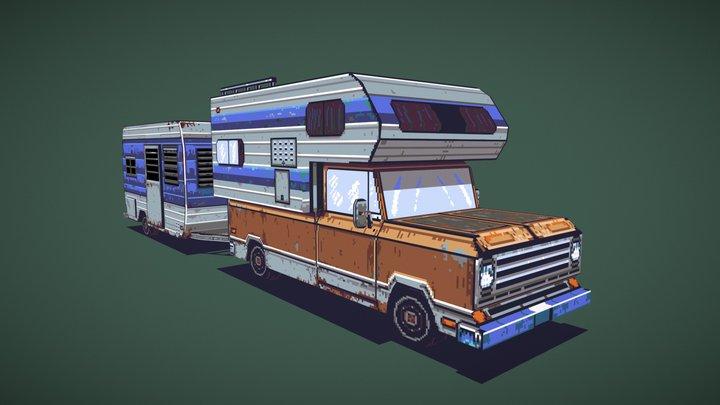 3D Pixel Art Camper PickUp with trailer 3D Model