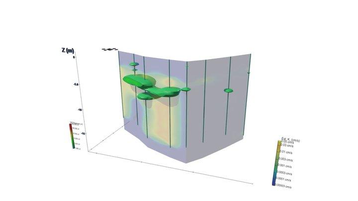 CVOC Plume With Estimated Hydraulic K 3D Model