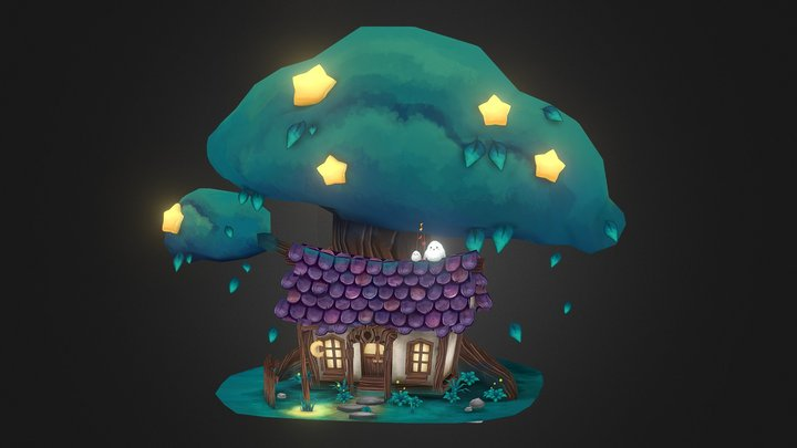 Magical Cottage - Handpainted 3D Model