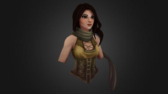 Female Demon Hunter Bust 3D Model