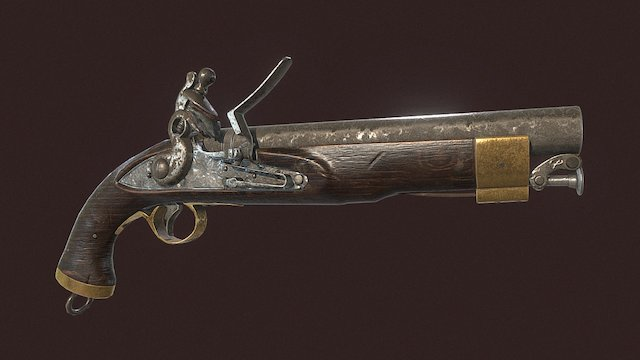 British New Land Pattern Cavalry Pistol 3D Model