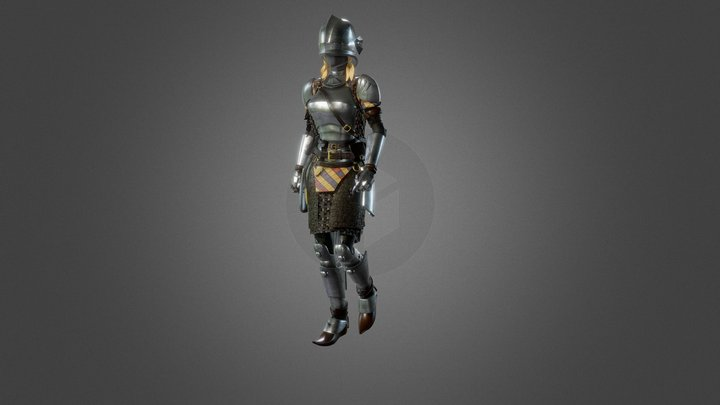 Knight Lady animated no weapon 3D Model