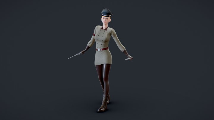 Military Girl Game Ready Low Poly 3D Model 3D Model