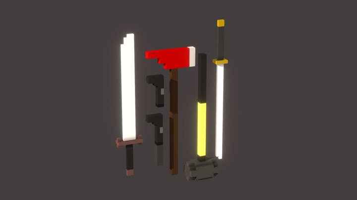 Low Poly Weapon Pack 3D Model