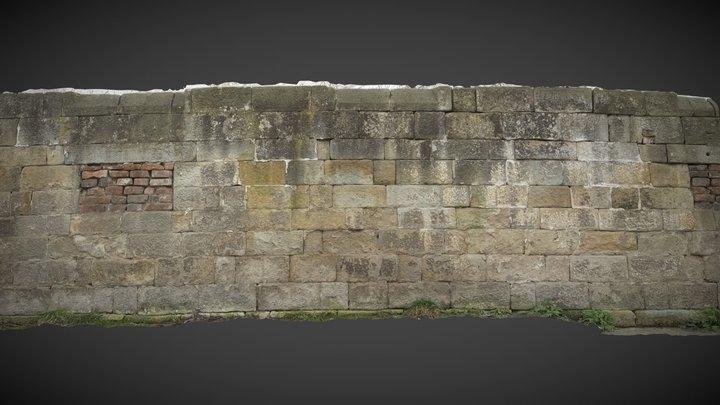 Sandstone Blockwall With Walled Windows 3D Model