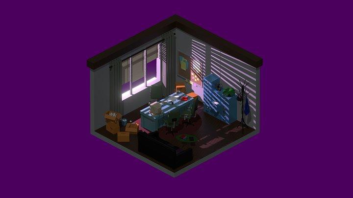 Low Poly Retro Office Set 3D Model
