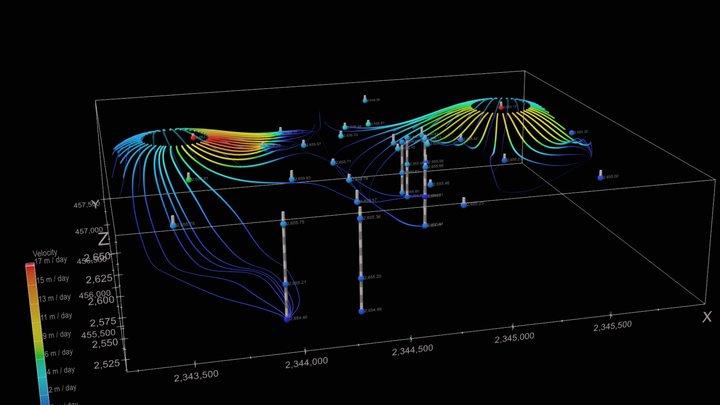 Seepage Velocity Streamtubes 3D Model
