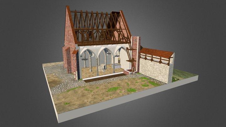 Stara Synagoga około 1500 roku - przekrój. 3D Model