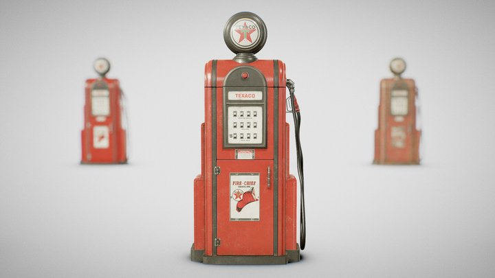 Gas Pump - Texaco 60's (Clean, Used and Dirty) 3D Model