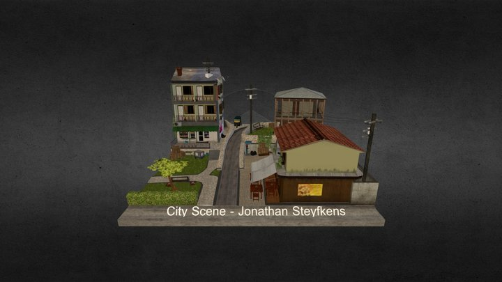 City Scene diorama 3D Model