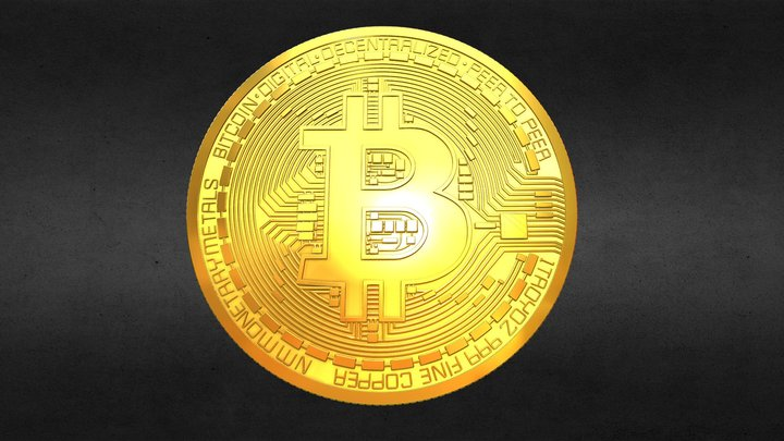 Gold Bitcoin Coin 3D Model