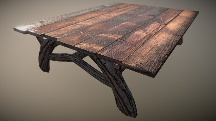 Common Wood Outdoors Table 3D Model