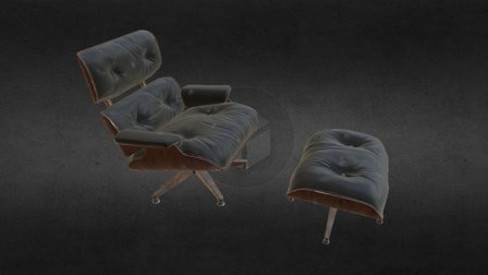 Elegant Leather Chair (old and worn variant) 3D Model
