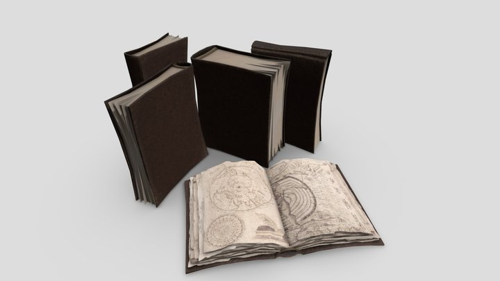 Books Low Poly 3D Model