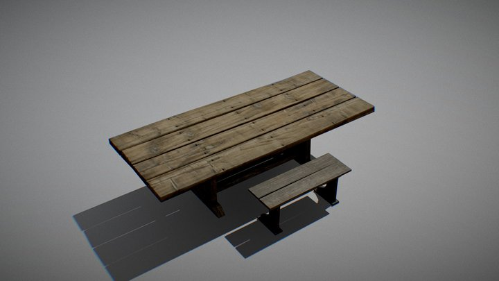 Table with Bench 3D Model