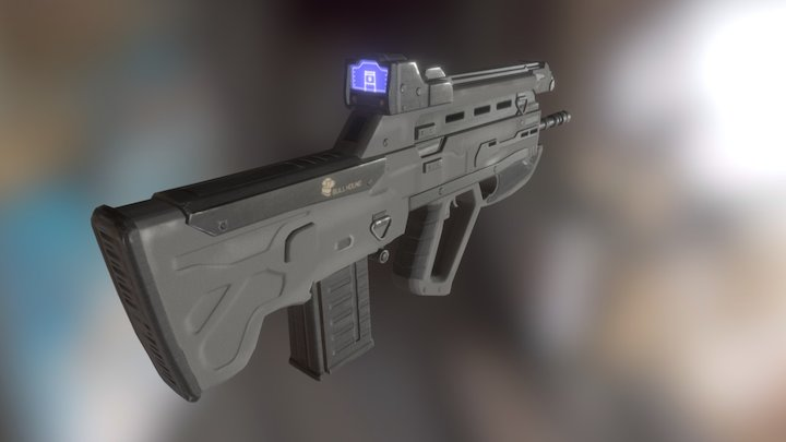 Bullhound, Scifi Assault Rifle 3D Model