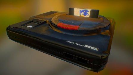Low-Poly Sega Mega Drive 3D Model