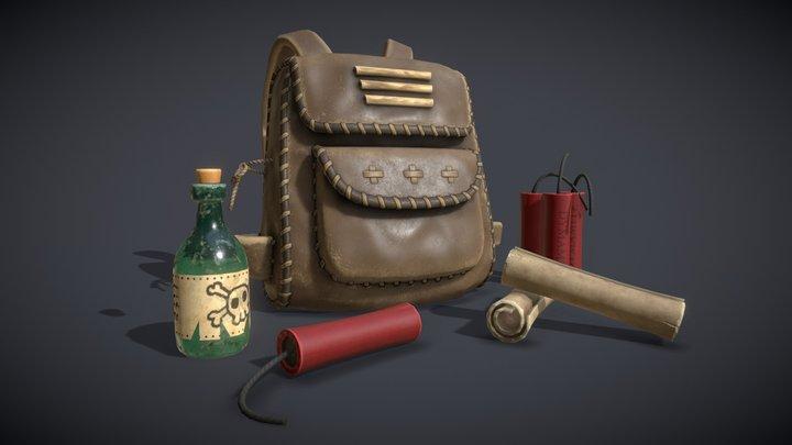 Wild West Challenge - Native american backpack 3D Model