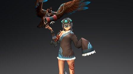 Girl and bird 3D Model