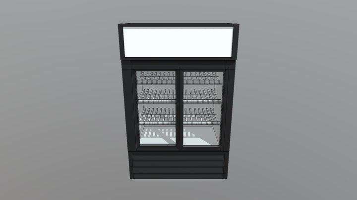 Low Poly Gas Station Fridge 3D Model