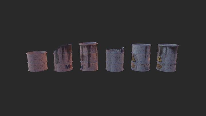 Junk Yard Petrol Station: Barrels 3D Model