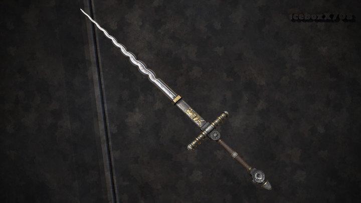 Ornamented Flamberge Sword 3D Model