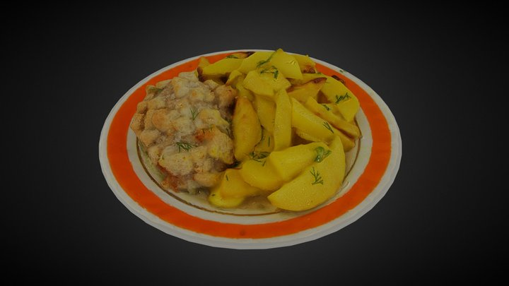 Potatoes with cutlet 3D Model