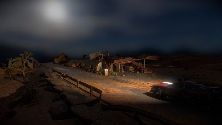 Apocalyptic Night Environment & Vehicle 3D Model