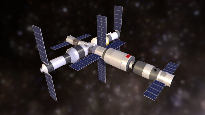 Planned Chinese Space Station 3D Model