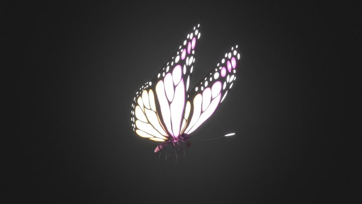 Magical Glowing Butterfly 3D Model
