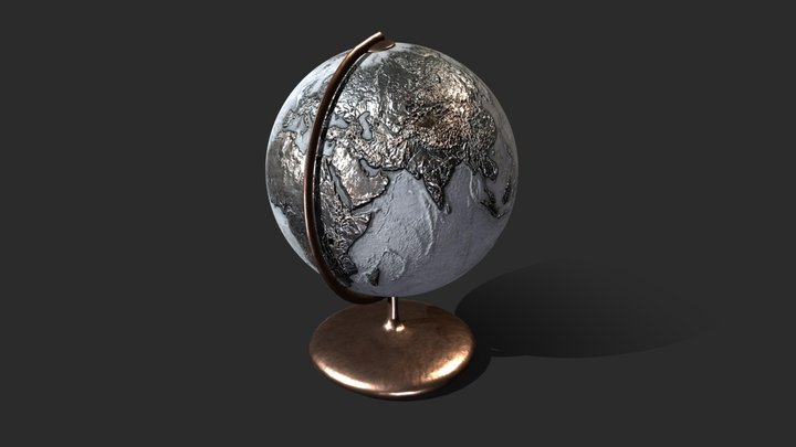 Metal-Concrete Earth Globe 3D Model