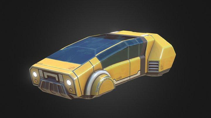 Yellow Hovercar 3D Model