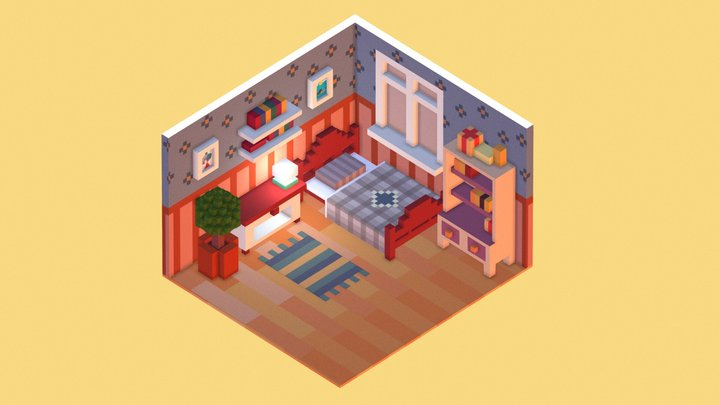 [Low Poly] Isometric Room 3D Model