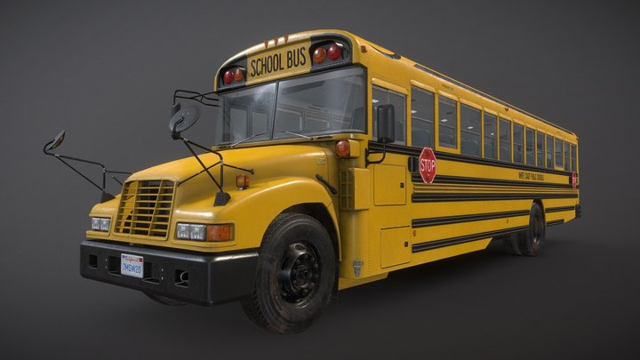 School Bus - Low Poly 3D Model