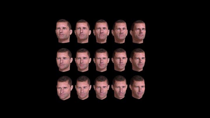 Human Male Heads Men Faces 3D Model