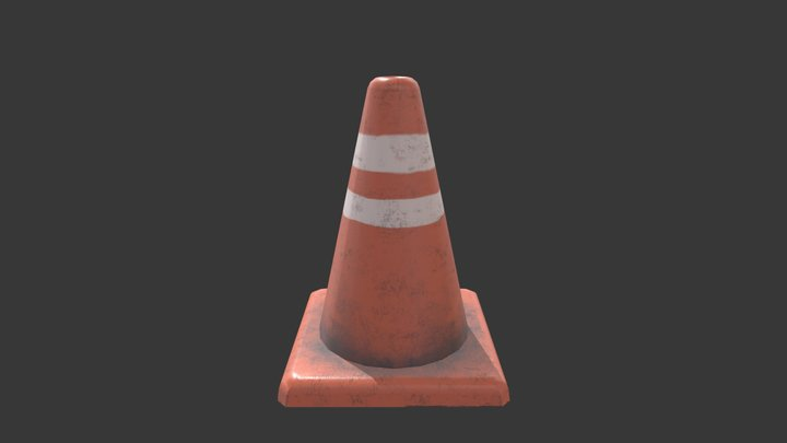 Traffic Cone Construction Low-poly 3D Model