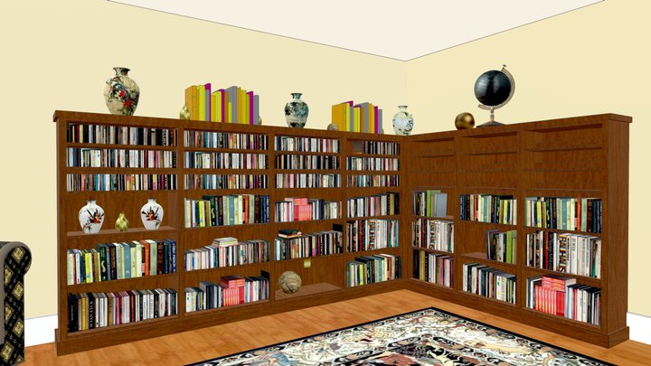 Cherry bookcase for books and CDs 3D Model