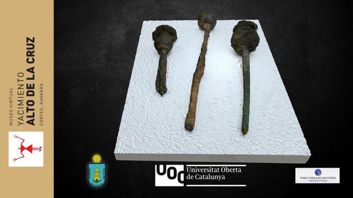 Alfileres de bronce y hierro, adorno personal 3D Model