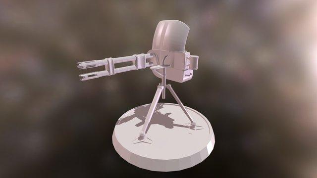 Double barrel minigun on tripod 3D Model