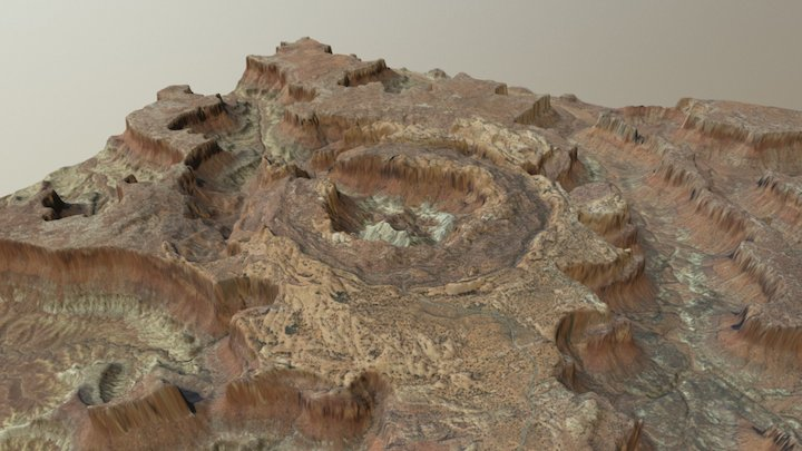 "Upheaval Dome 5""x5"" (1:72,000 Scale) 3D Model"