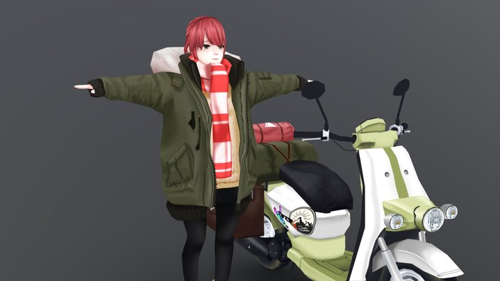 Girl & Scooter (hand painted) 3D Model