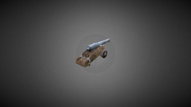 Naval cannon 6 pound (low poly) 3D Model