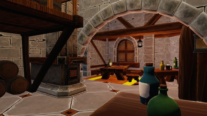 Tavern Cartoon - Low Poly 3D Model